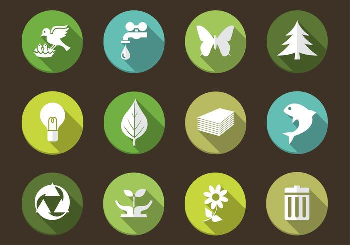 Long Shadow Eco Nature Icon Vectors