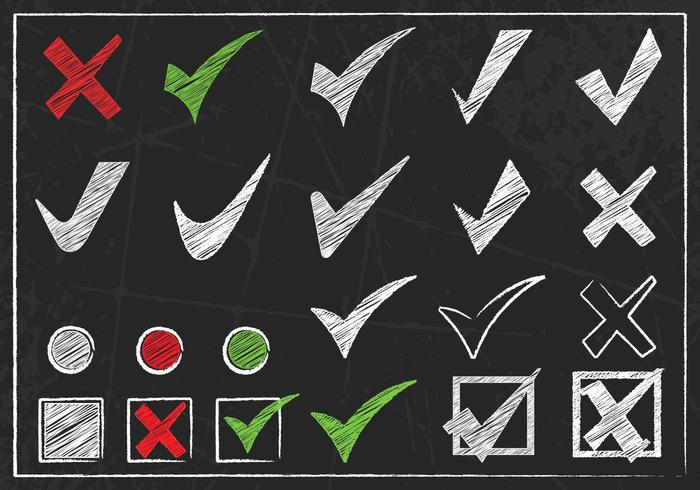Chalk Drawn Check Mark Vector Pack