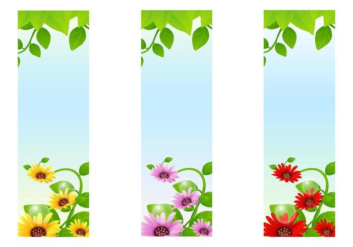 Sonnenblume-Fahnen-Vektor-Hintergrund-Satz