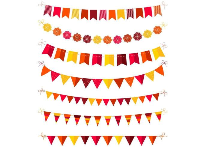 Autumn Colored Bunting Vector Pack
