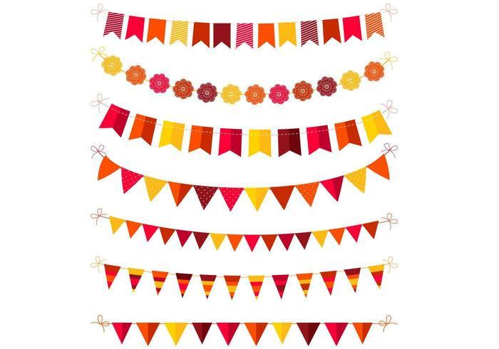 Pack de vectores de color otoño Bunting