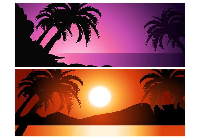 Tropical Sunset Vector Background Pack
