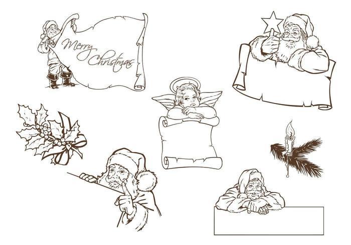 Hand Drawn Santa and Christmas Label Vectors