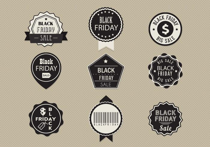 schwarzer Freitag Verkauf Label Vektor Pack