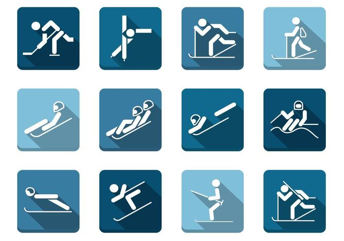 Long Shadow Winter Sport Icons Vector Pack