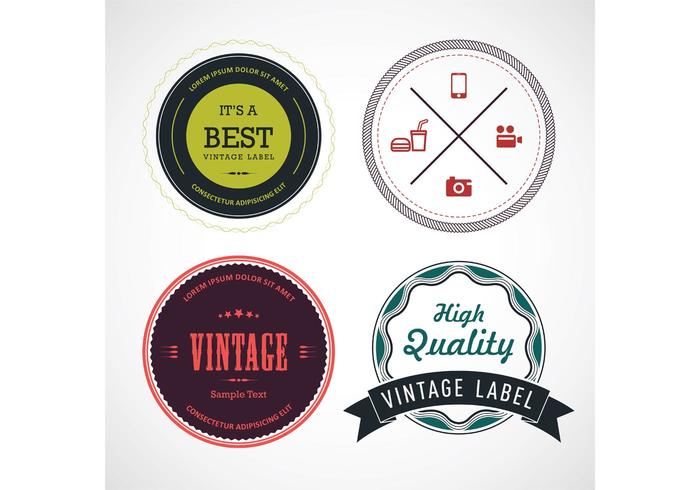 Gekleurde Vintage Label Vectoren