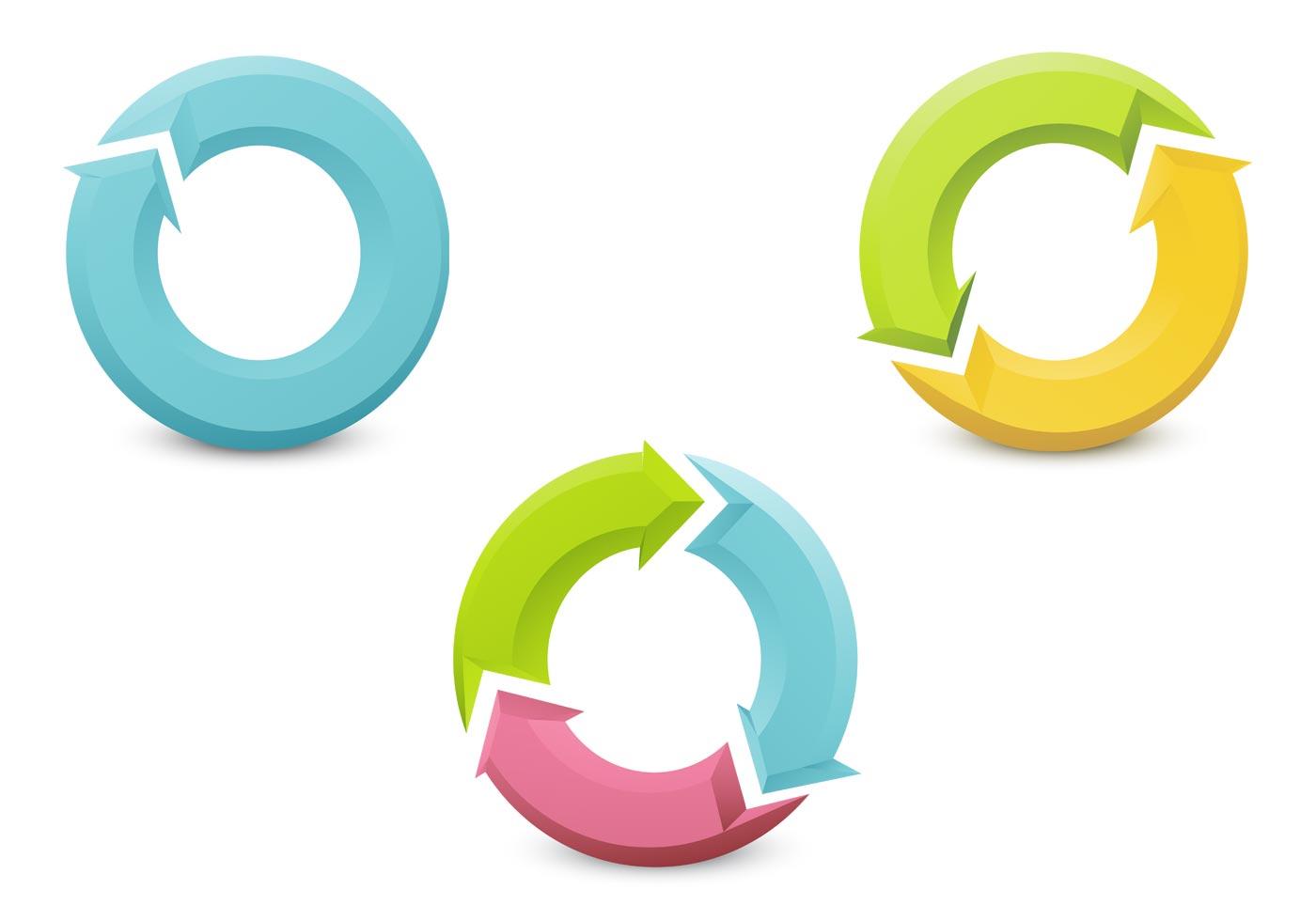 3D Circular Arrow Vector Pack - Download Free Vectors ...