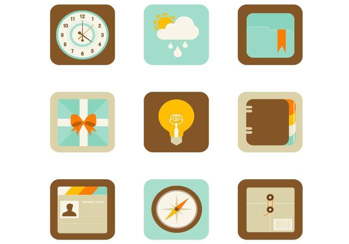 Icônes vectorielles plates d'applications Web et mobiles