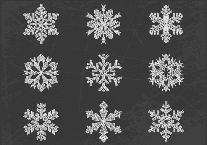 Chalk Drawn Snowflake Vector Pack