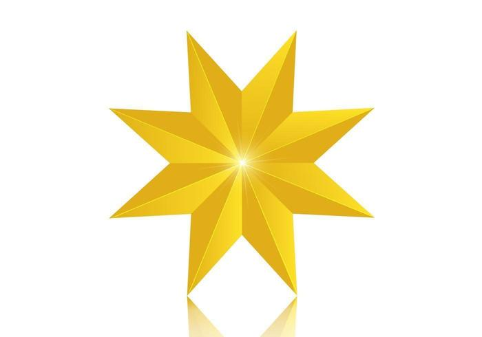 3D 8 puntos Golden Star Vector
