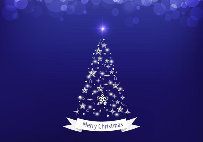 Blue Bokeh Christmas Tree Vector Background