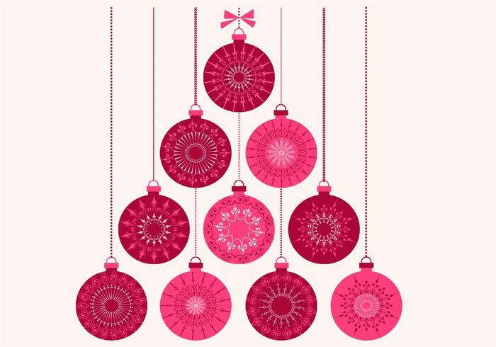Retro Christmas Ornament Vector Background