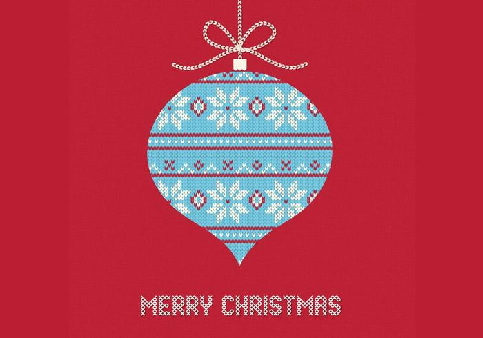 Knitted Christmas Ornament Vector Background