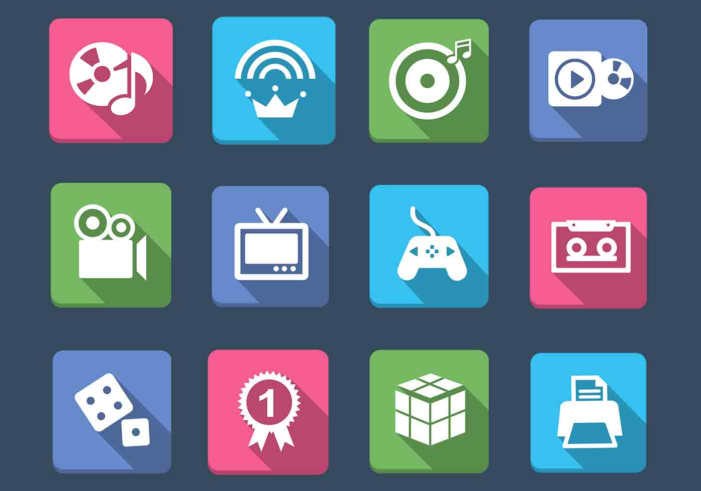 Multimedia And Games Icon Vector Pack Download Free