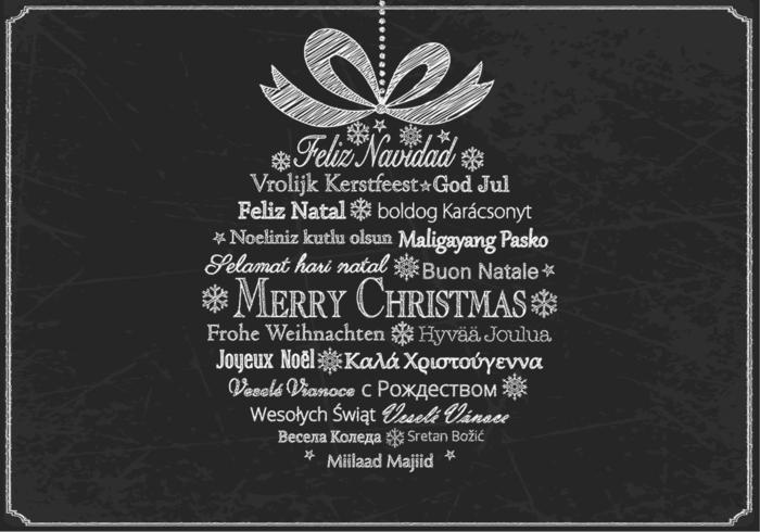 Krijt getrokken meertalige kerst Ornament Vector