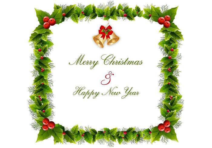 Natale Holly Wreath Frame Vector