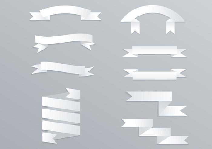 Origami White Banner Vector Pack