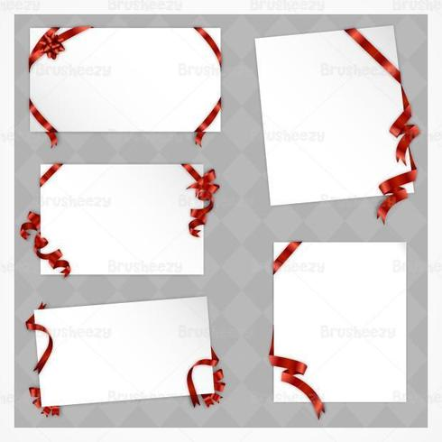Holiday Papers with Red Bows Vectors