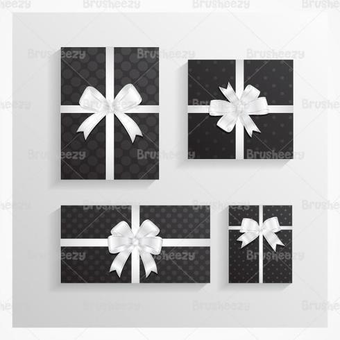 Black Polka Dotted Christmas Gift Vector Pack