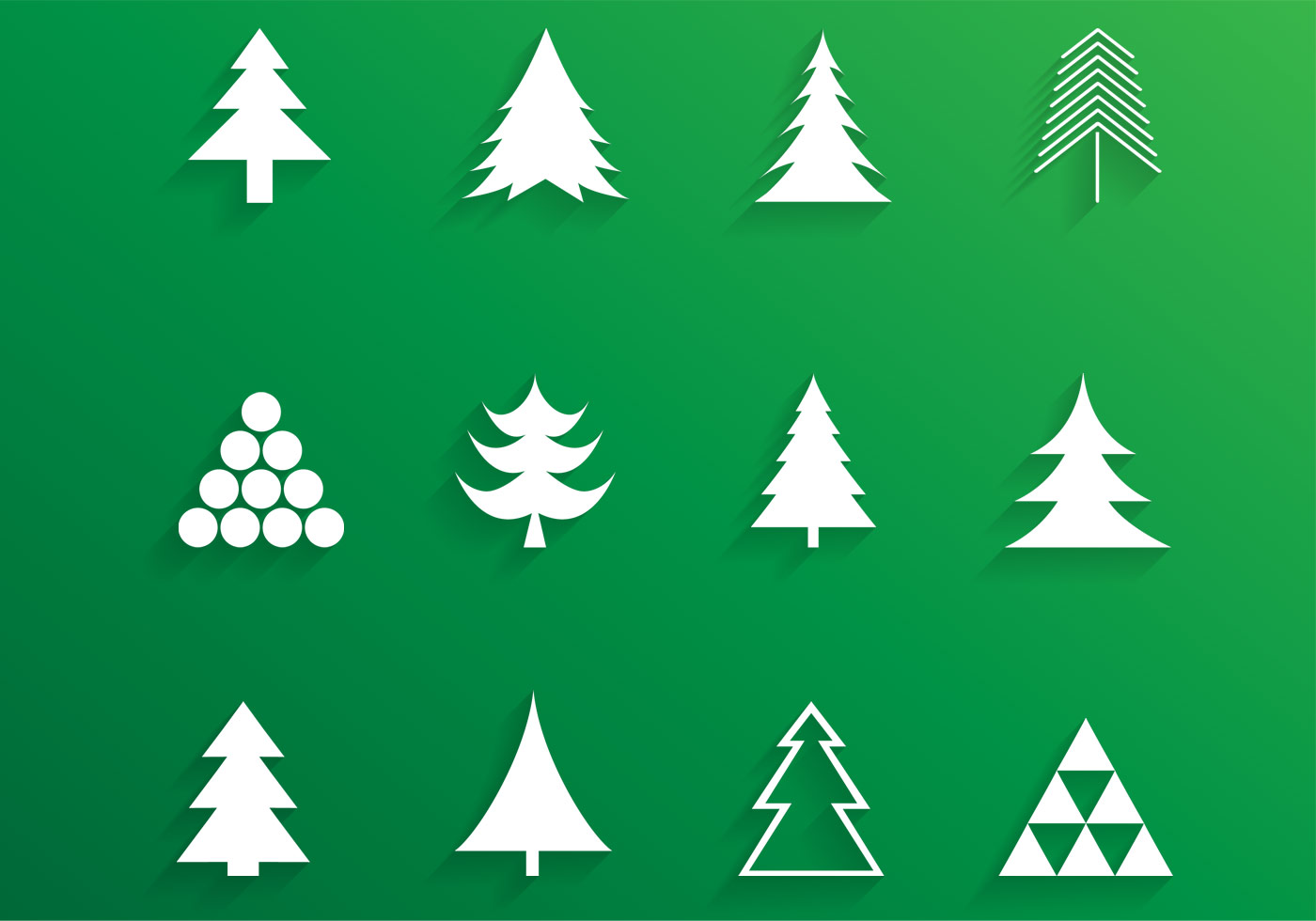 Simple Christmas Tree Vector Pack - Download Free Vectors ...