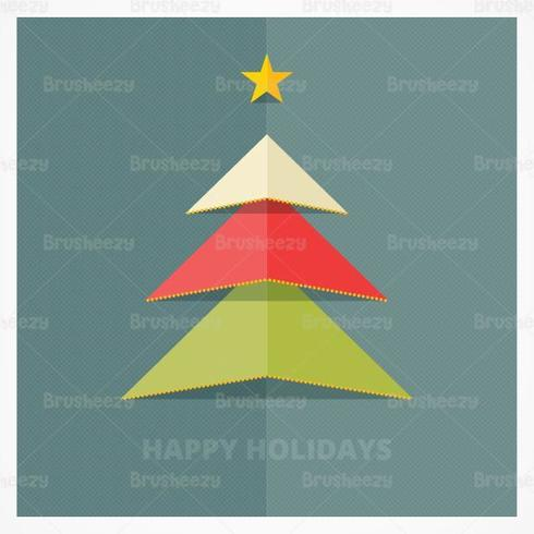 Paper Popup Christmas Tree Vector Background