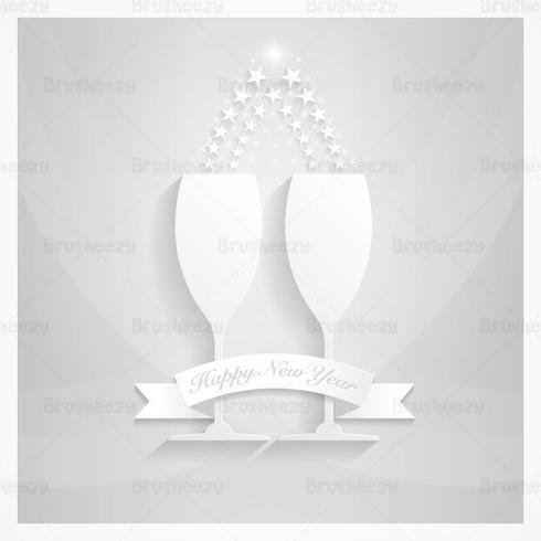 Silver Champagne New Year Vector Wallpaper
