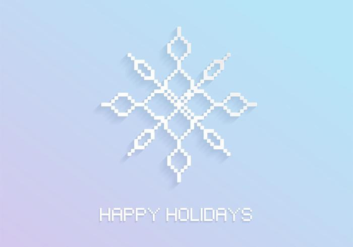 Pixel Snowflake Holiday Vector Background