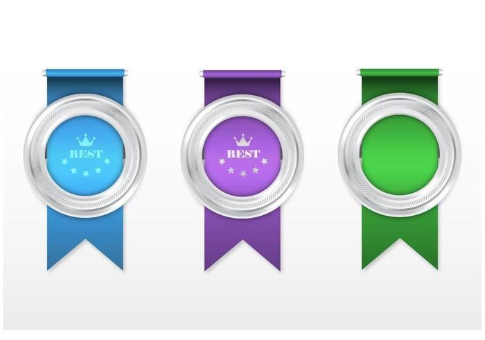Silver Award Ribbon Vector Pack
