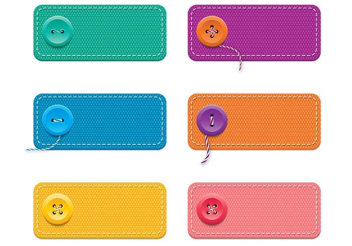 Fabric Banner Vectors with Buttons Pack
