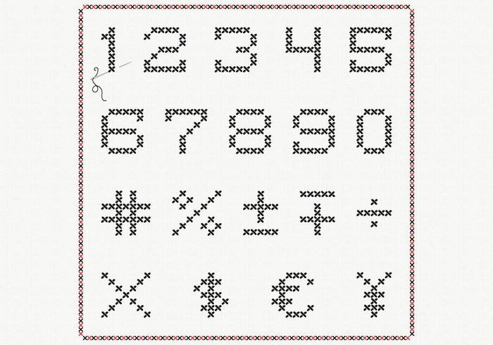 Cross Stitch Number Vector Pack