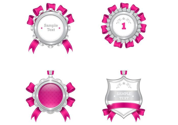Luxurious Pink and Silver Medal Vector Pack