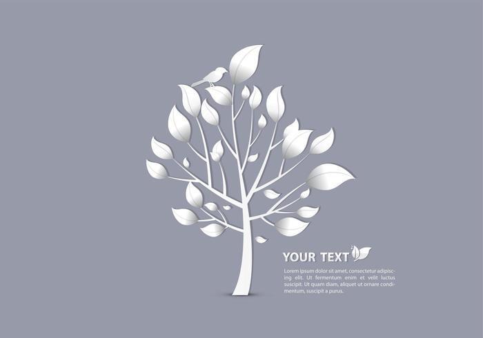 Silver Bird On Tree Vector Wallpaper