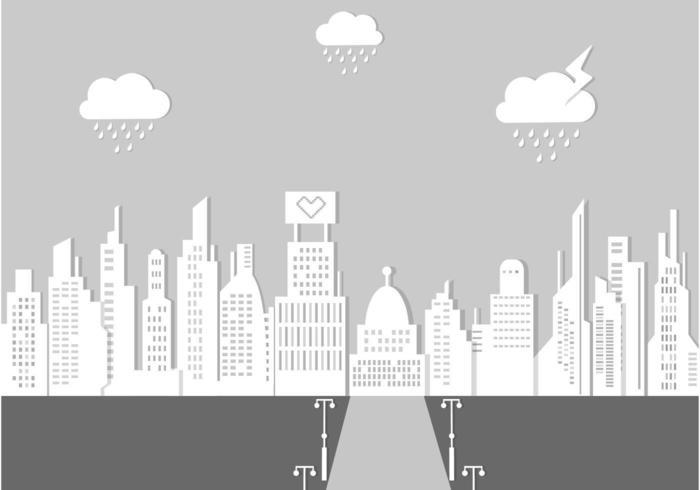 Rainy City Landscape Vector Background
