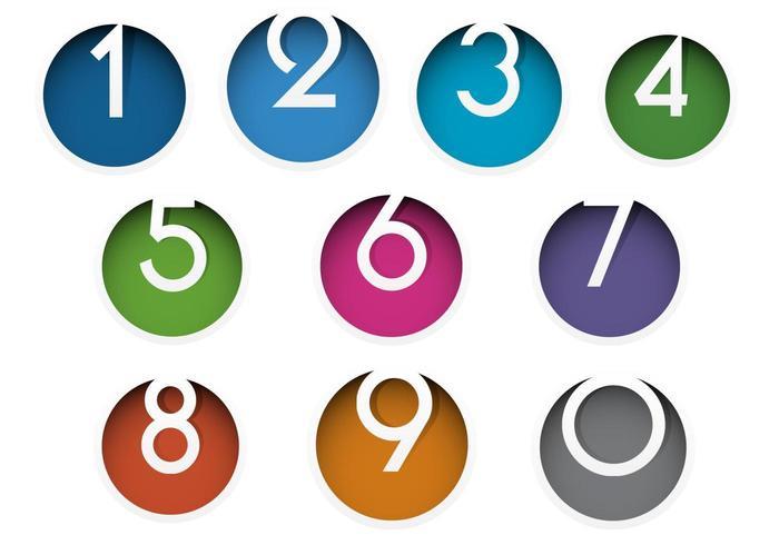 Nombre coloré icône Vector Pack