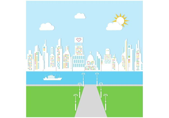 Sunny City Background Vector