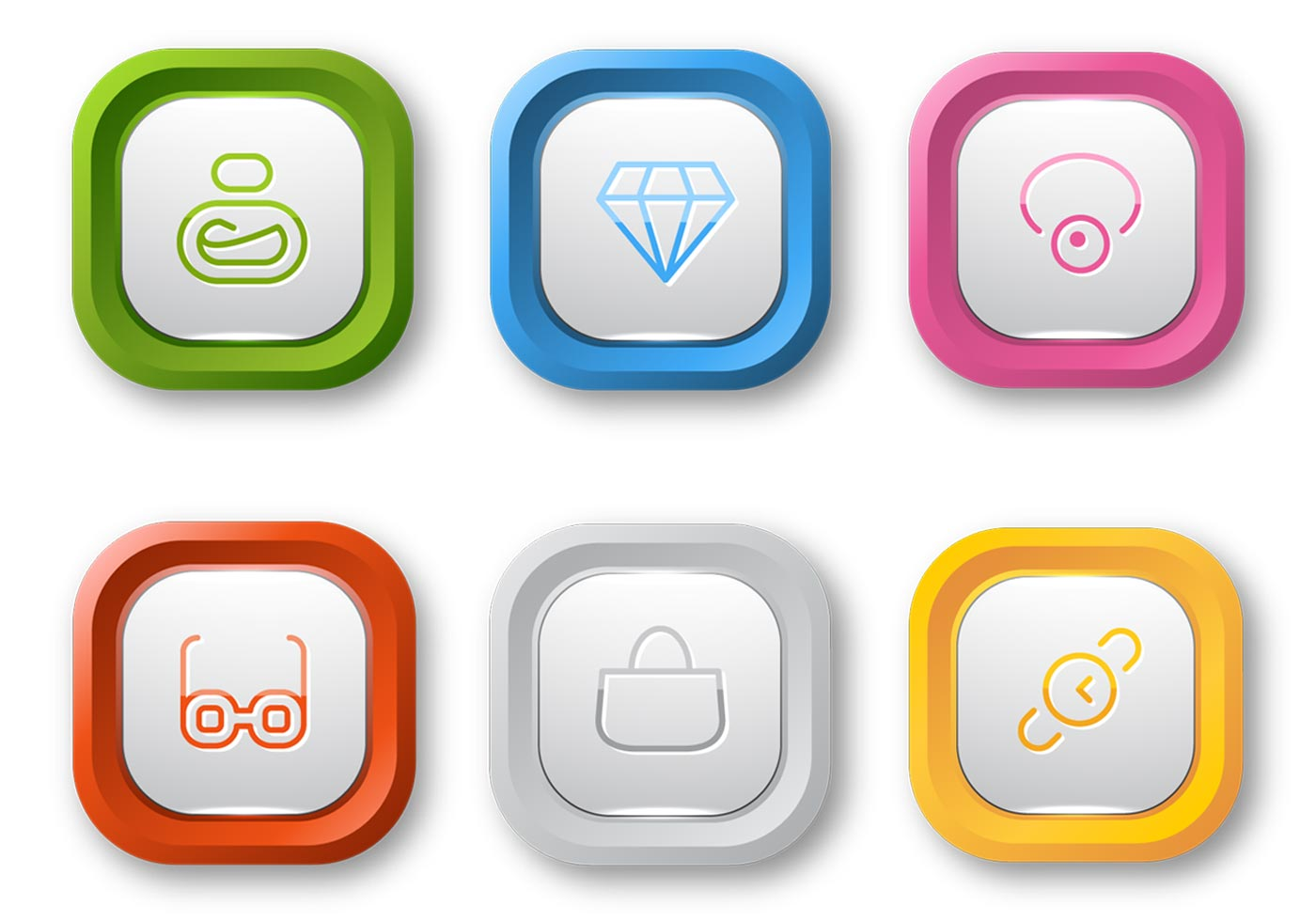 colorful web button vector pack