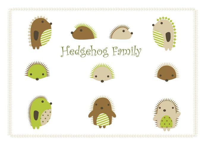 Cartoon Hedgehog Vector Family Pack