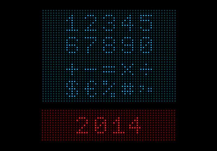 Pacote de vetores de número de luz LED digital