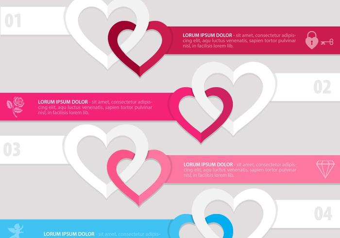Conjunto de vectores de banner de corazón vinculado