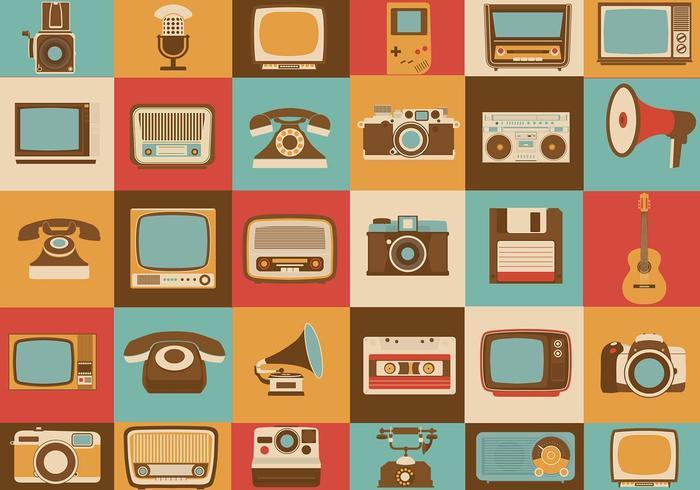 Pacote retro de ícones vetoriais de mídia
