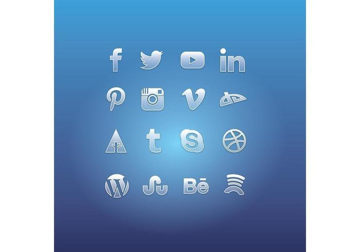 Vidrio Social Media Icono Vectores