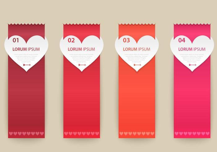 Conjunto de vectores de banner de cinta de corazón