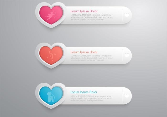 Hart banner vector pack