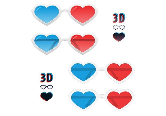 Ensemble vectoriel 3D Heart Glasses