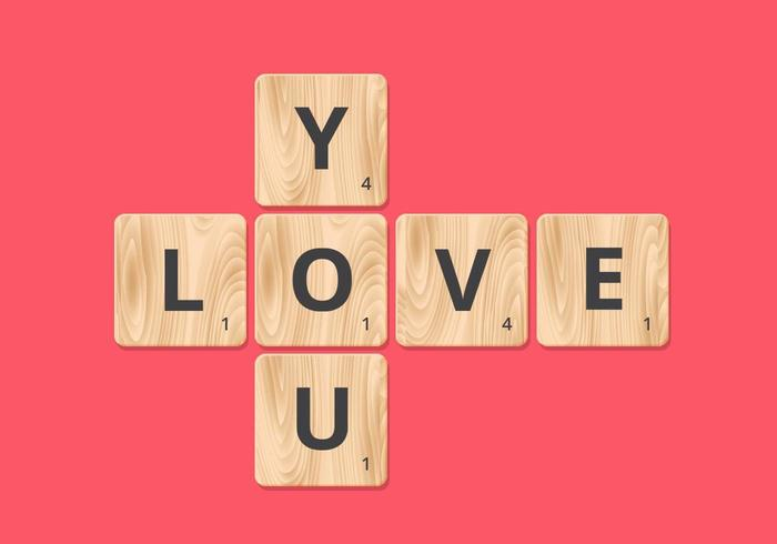 Love You Scrabble Block Vector