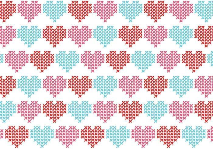 Punto de cruz corazón vector patrón