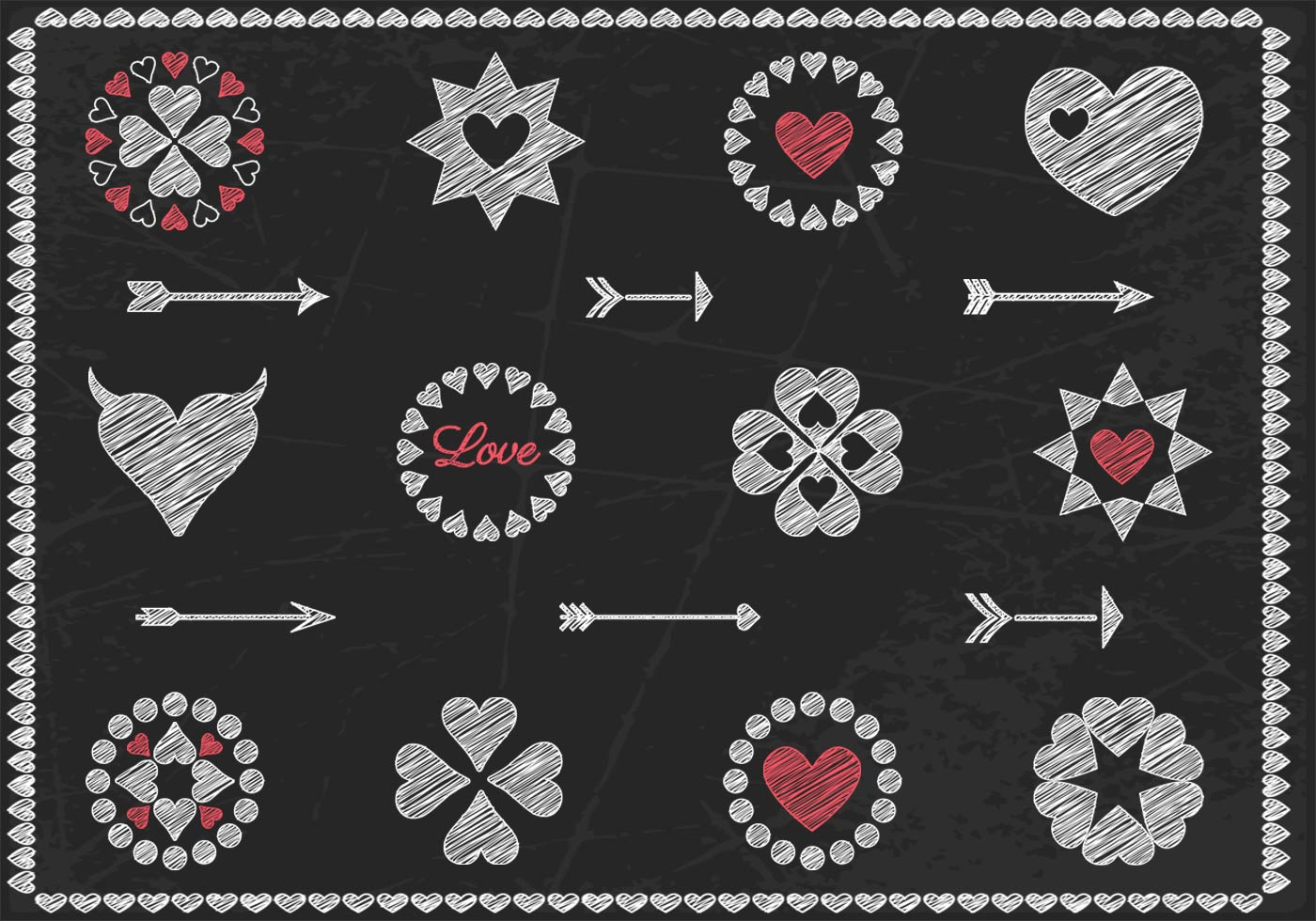 Chalk Drawn Heart Vector and Arrow Vector Pack - Download ...
