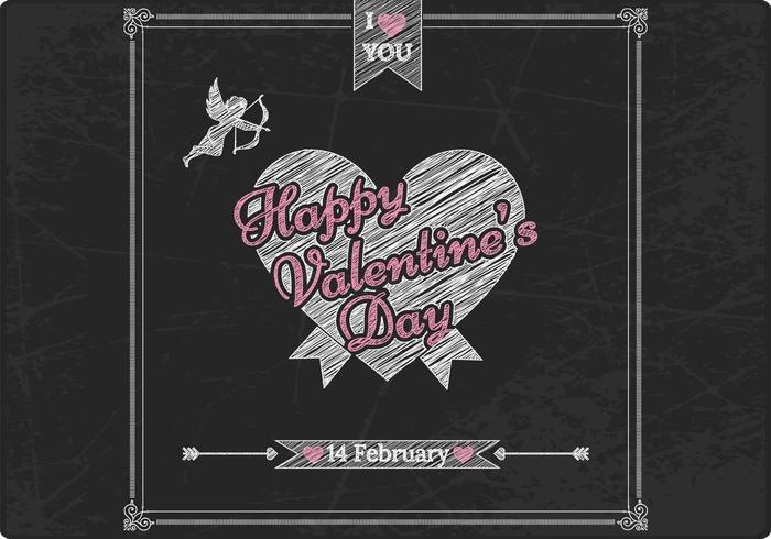 Kreide Drawn Valentinstag Vektor Hintergrund
