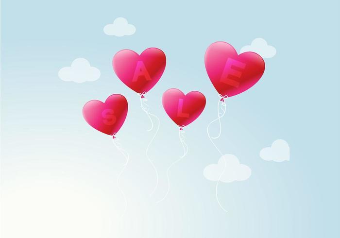 Hjärta Ballong Försäljning Vektor Bakgrund