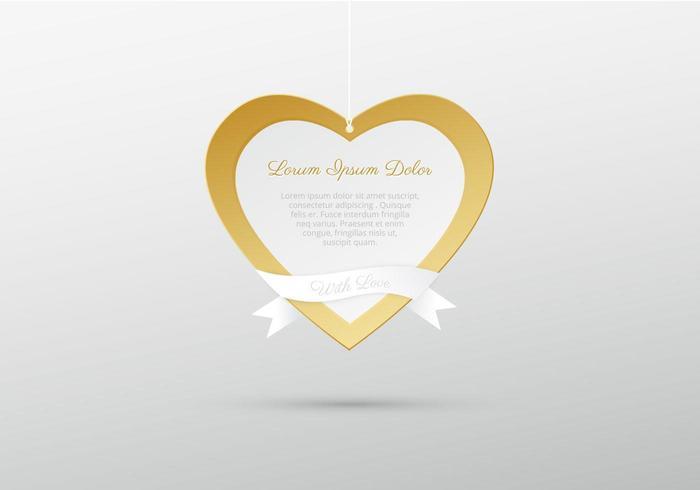 Hanging Golden Heart Vector Background